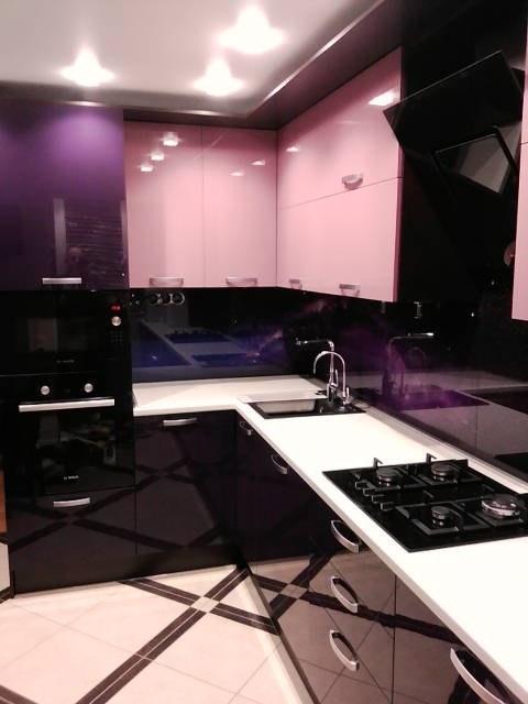 Глянцевые кухни-Кухня из шпона «Модель 16»-фото1