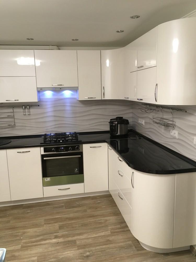 Белый кухонный гарнитур-Кухня МДФ в ПВХ «Модель 311»-фото2