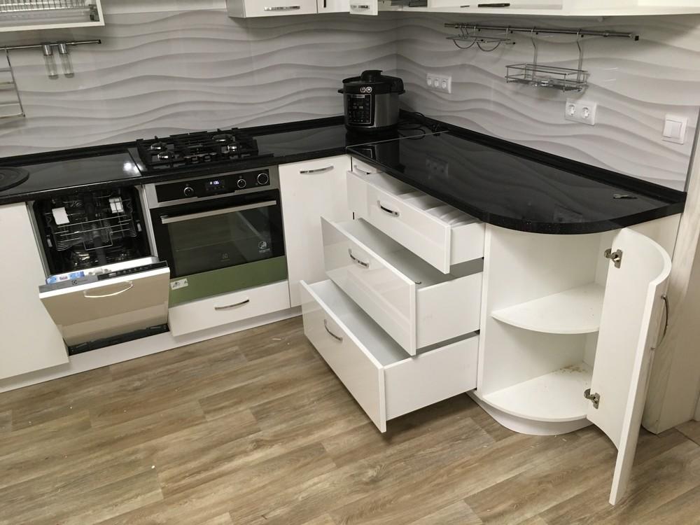 Белый кухонный гарнитур-Кухня МДФ в ПВХ «Модель 311»-фото8
