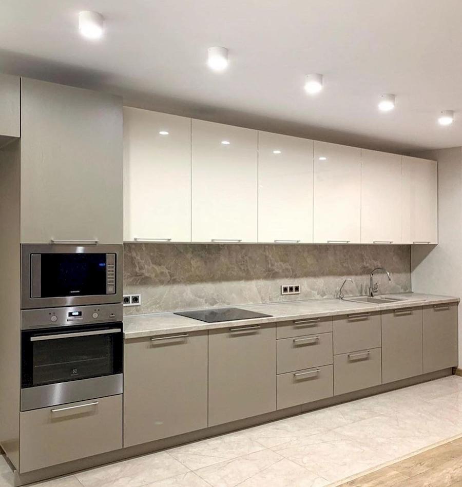 Бежевые кухни-Кухня МДФ в ПВХ «Модель 587»-фото1