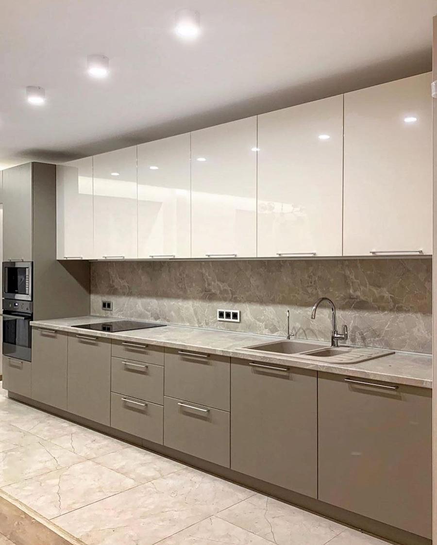 Бежевые кухни-Кухня МДФ в ПВХ «Модель 587»-фото2