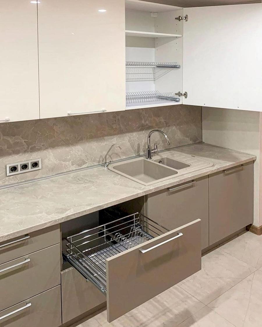 Бежевые кухни-Кухня МДФ в ПВХ «Модель 587»-фото3