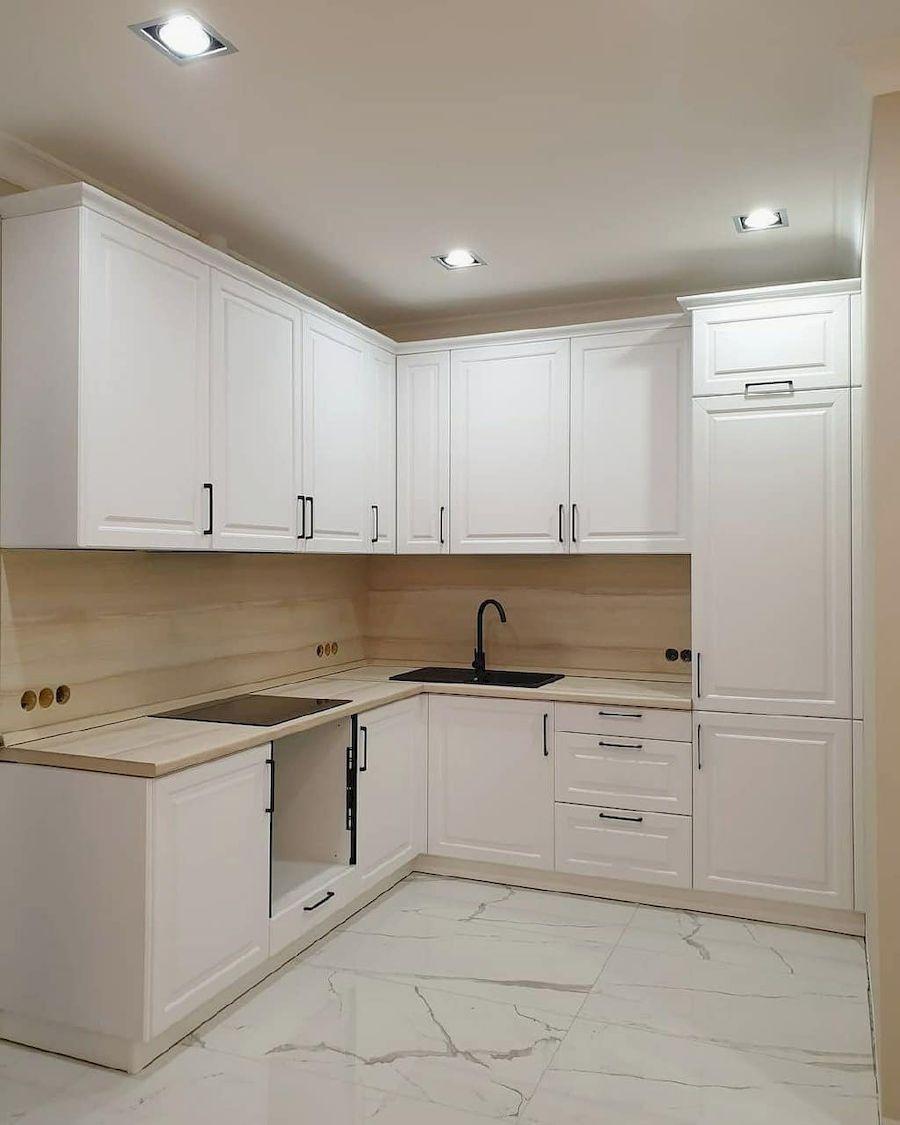 Белый кухонный гарнитур-Кухня МДФ в ПВХ «Модель 634»-фото1